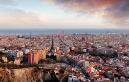 Barcelona panorama at sunset Stock Images