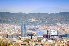 Barcelona panorama z Agbar wierza, Catalonia, Hiszpania Fotografia Royalty Free