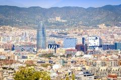 Barcelona panorama z Agbar wierza, Catalonia, Hiszpania Zdjęcie Royalty Free