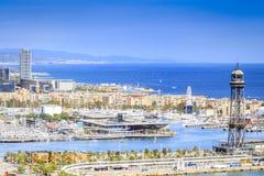 Barcelona panorama z Portowym Vell w Barcelona, Hiszpania Zdjęcie Stock