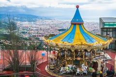 Barcelona panoramautsikt från det Tibidabo berget Arkivfoton