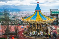Barcelona panoramautsikt från det Tibidabo berget Royaltyfri Foto