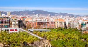 Barcelona Panoramic with Tibidabo mountain Stock Photography