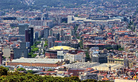 Barcelona panoramic. Panoramic view from Montjuic, Barcelona Spain Stock Photos