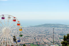 Barcelona panoramic view from Tibidabo mountain, Spain Royalty Free Stock Images