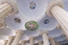 Barcelona Parc Guell. Mosaic roof in Parc Guell, Barcelona Royalty Free Stock Image