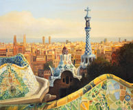 Barcelona Park Guell. An oil painting on canvas of Barcelona, Park Guell terrace at dusk with a panoramic view of the city lit by the warm light of the setting Royalty Free Stock Photography