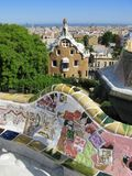 Barcelona: Park Guell, beautiful park by Gaudi. Barcelona: Park Guell, the famous and beautiful park designed by Antoni Gaudi, one of the highlights of the city royalty free stock image