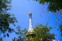 Barcelona. Park Guell, the famous Gaudi. Tower with five-pointed cross Royalty Free Stock Photos