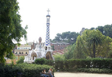 Barcelona Park Guell. Famous Park Guell in Barcelona in summer Royalty Free Stock Photo