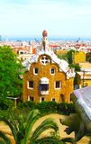 Barcelona Park Guell of Gaudi Gingerbread and fairy tale houses, Catalonia, Spain stock photo