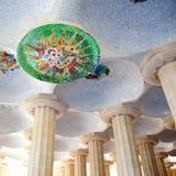 Barcelona Park Guell of Gaudi modernism. Barcelona Park Guell of Gaudi mosaic in the Hundred Columns Chamber stock photo