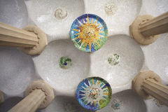 Barcelona Park Guell of Gaudi mosaic in the Hundred Columns Chamber, Spain Royalty Free Stock Image