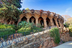 Barcelona, Park Guell, Spain - nobody.  Royalty Free Stock Images