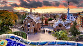Barcelona, Park Guell, Spain - nobody, Time lapse stock video
