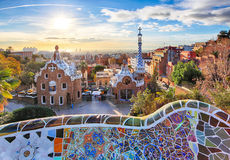 Barcelona - Park Guell, Spain. With sun royalty free stock image