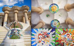 Barcelona parkerar Guell av den Gaudi mosaiken i den hundra kolonnkammaren Arkivbild