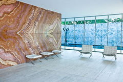Barcelona Pavilion. Historical  Barcelona Pavilion by Ludwig Mies van der Rohe,  for the 1929 International Exposition in Barcelona, Spain Royalty Free Stock Images
