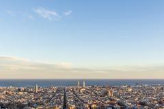 Barcelona pejzaż miejski od Carmel ` s bunkierów Obrazy Stock