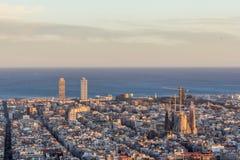 Barcelona pejzaż miejski od Carmel ` s bunkierów Zdjęcia Stock