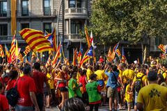 Barcelona, people manifesting independence of Catalonia Royalty Free Stock Images