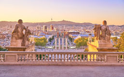 Barcelona Piazza d Espanya view from the stairs of Palau Nacional. Royalty Free Stock Photo