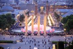 Barcelona Śpiewackie fontanny Montjuic Zdjęcie Royalty Free