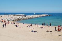 Barcelona plaży scena, Catalonia obrazy royalty free
