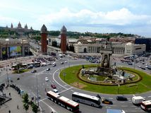 Barcelona, Placa Espanya or Spanish Square with round about and day traffic with buses. Barcelona Placa Espanya or Spanish Square with round about and day royalty free stock photo