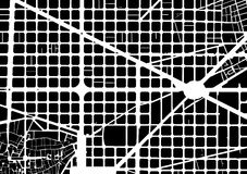 Barcelona plan. Part of urban plan of a city of Barcelona. Black and white pattern Stock Photography