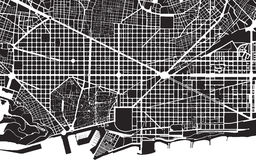 Barcelona plan. Part of urban plan of a city of Barcelona. Black and white pattern Royalty Free Stock Photo