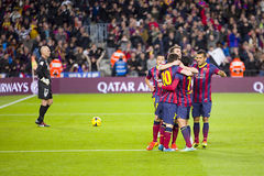 Barcelona players celebrating a goal Royalty Free Stock Photos