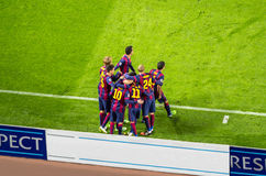 Barcelona players after goal at Camp Nou stadium Stock Photo