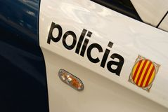 Barcelona Police. Inscription detail of a police car in Barcelona, Spain stock photography