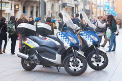 Barcelona police motorcycles Stock Photos