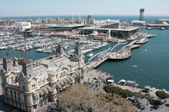 Barcelona Port. Aerial view of Barcelona port known as Port Vell and Maremagnum royalty free stock images