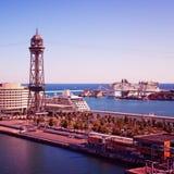 barcelona port royaltyfria bilder