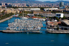 Barcelona port. With yacht view from air Royalty Free Stock Photo