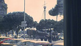 Barcelona Port Authority - Admiral Historic Authority. BARCELONA, SPAIN - CIRCA 1970: Barcelona Port Authority - Admiral Historic Authority in city harbor with stock video footage