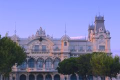 Barcelona port building. In the evening sunset Stock Photo