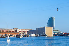 Barcelona port cityscape with modern buildings Stock Photo