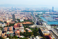 Barcelona with Port from helicopter. Catalonia Stock Images