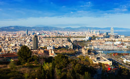 Barcelona with Port  from Montjuic hill Royalty Free Stock Photography