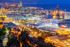 Barcelona and the port at night Royalty Free Stock Photography