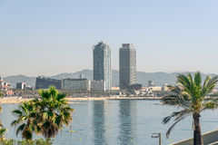 Barcelona Port Olimpic High Rise Buildings Stock Photography