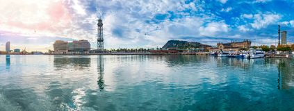 Barcelona Port Vell panorama with overhead cableway to Montjuic. Barcelona Port Vell panorama with overhead cableway to Mount Montjuic stock image