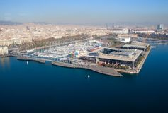 Barcelona Port Vell view from funiculare. Barcelona Port Vell view from turistic funiculare stock photography