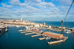 Barcelona port view from the air. Royalty Free Stock Photos