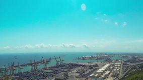 Barcelona port view from the air. Spain. timelapse stock video footage
