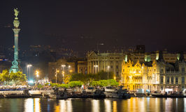 Barcelona Port With Columbus Statue In Night Stock Image